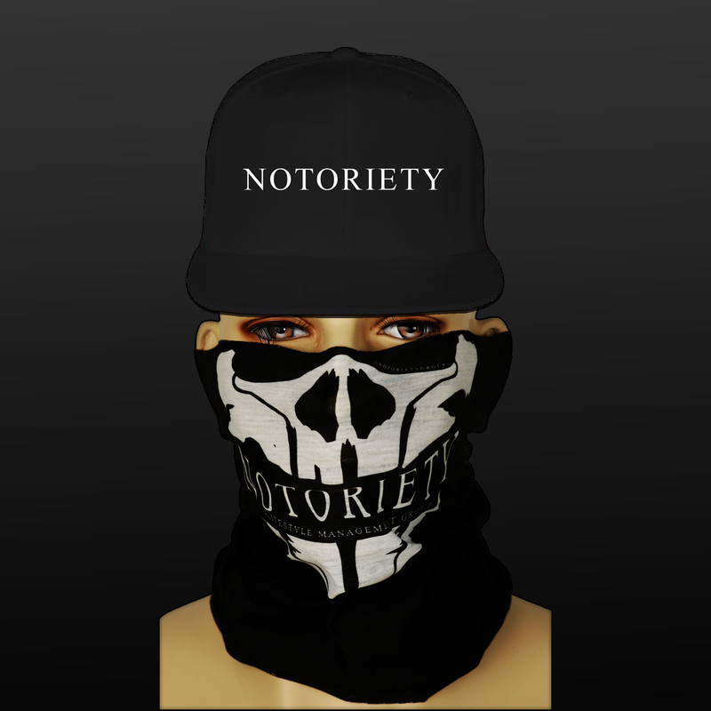 Limited Edition Notoriety Tubular Face Mask + Notoriety Snapback | Price: $50.00 USD